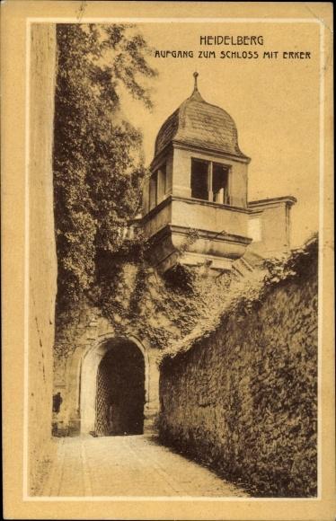 Ak Heidelberg am Neckar, Aufgang zum Schloss mit Erker
