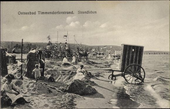 Ak Timmendorfer Strand in Ostholstein, Strandleben, Sandburgen, Umkleidewagen