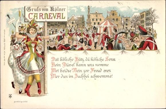Litho Köln am Rhein, Kölner Karneval, Narren, Kostüme, Gedicht