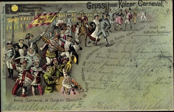 Mondschein Litho Köln am Rhein, Kölner Karneval, Prinz Karneval, Narren, Umzug