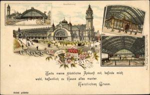Litho Köln am Rhein, Hauptbahnhof, Innenansicht