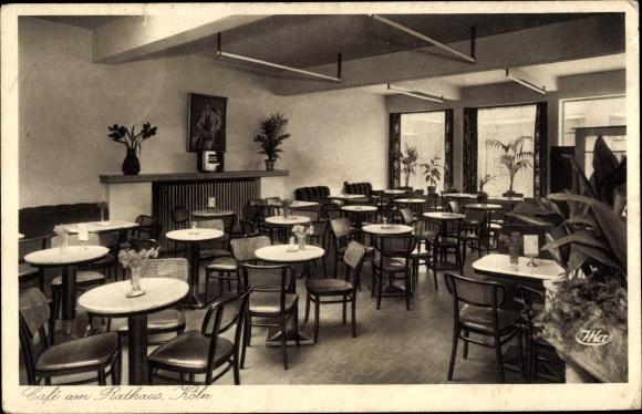 Ak Köln am Rhein, Café am Rathaus, Innenansicht