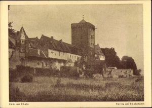 Ak Zons Dormagen Niederrhein, Partie mit Rheinturm