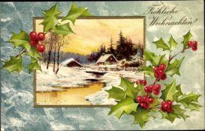 Präge Ak Frohe Weihnachten, Winterlandschaft, Stechpalmen