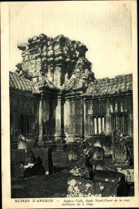 Ak Angkor Wat Kambodscha, Angle Nord Ouest de la cour intérieure