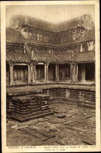 Ak Angkor Wat Kambodscha, Cour ou bassin du cloître cruciforme
