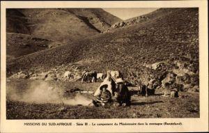 Ak Basutoland Lesotho, Le campement du Missionaire dans la montagne