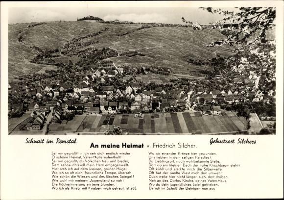Ak Schnait Weinstadt Baden Württemberg, Panorama vom Ort, Gedicht v. Friedrich Silcher