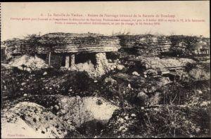 Ak La Bataille de Verdun, Ruines de l'ouvrage bétonné de la Batterie de Damloup