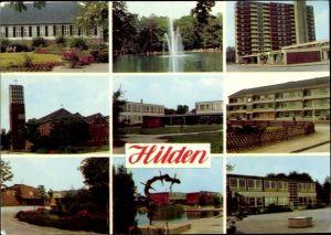 Ak Hilden Nordrhein Westfalen, Kirche, Teich, Berufsschule, Hochhaus, St. Konrad, Beethovenschule