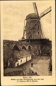 Ak Zons Dormagen Niederrhein, Windmühle, Vor dem Wirbelsturm 1909