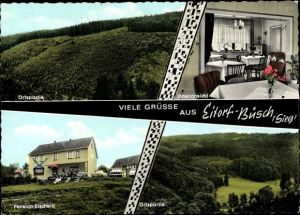 Ak Büsch Eitorf in Nordrhein Westfalen, Waldpartien, Pension Etscheid, Außen- u. Innenansicht