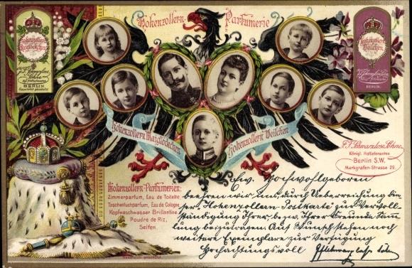 Litho Hohenzollern Parfumerie Berlin, Markgrafen Str. 29, Kaiser Wilhelm II. von Preußen, Kinder