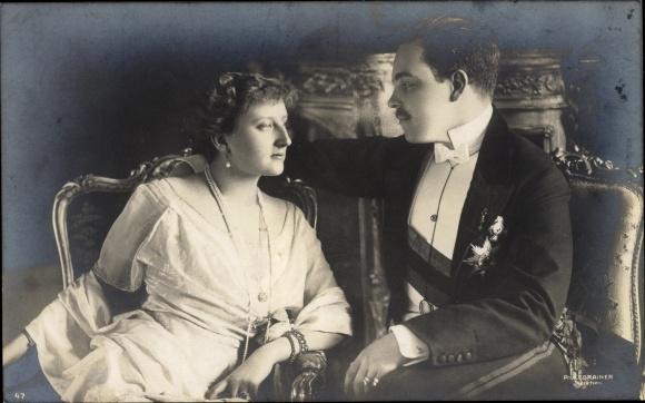 Ak König Manuel II von Portugal, Auguste Viktoria von Hohenzollern