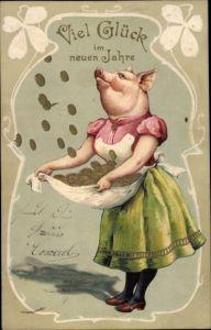 Präge Litho Glückwunsch Neujahr, Schwein fängt Münzen auf, Kleeblätter