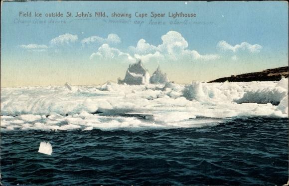 Ak Saint John's Neufundland und Labrador Kanada, Field Ice, Cape Spear Lighthouse
