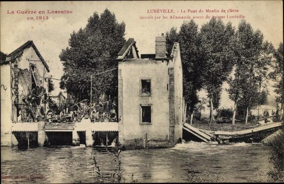 Ak Lunéville Lothringen Meurthe et Moselle, Le Pont du Moulin de platre