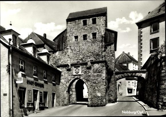 Ak Nabburg Oberpfalz, Stadttor, Drogerie