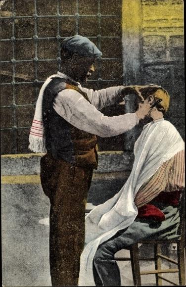 Ak Thessaloniki Griechenland, Barbier auf der Straße