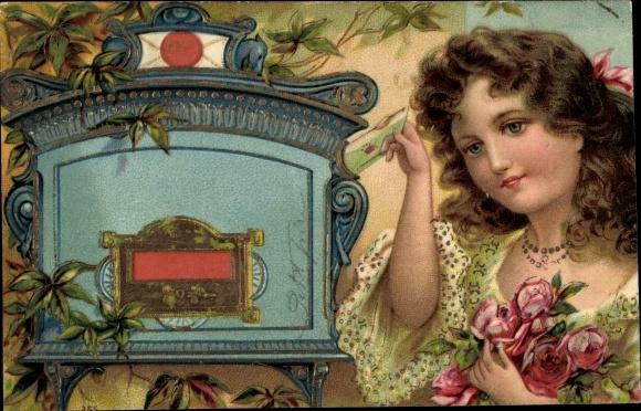 Präge Ak Junge Frau am Briefkasten, Rosen
