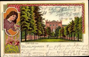 Litho Wilhelmshaven in Niedersachsen, Frau mit Blumen, Stationsgebäude