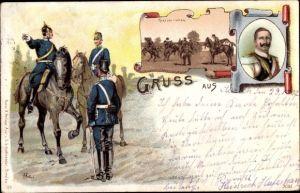 Künstler Litho Knötel, R., Rekrutenreiten, Kaiser Wilhelm II.