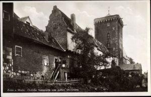 Ak Zons Dormagen am Niederrhein, Östliche Mauerseite von außen, Rheinturm