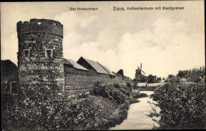 Ak Zons Dormagen Niederrhein, Krötschenturm m. Stadtgraben, Windmühle