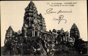 Ak Angkor Wat Kambodscha, Tour centrale et trois tours d'angle