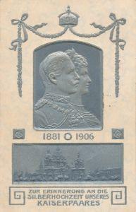 Präge Ak Erinnerung an Silberhochzeit des Kaiserpaares, Wilhelm II, Kaiserin Auguste Viktoria