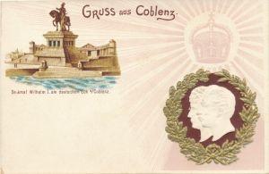 Präge Gold Litho Kaiser Wilhelm II., Kaiserin Auguste Viktoria, Kaiser Wilhelm Denkmal
