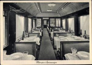 Ak Deutsche Eisenbahn, Dampflokomotive, Mitropa Speisewagen
