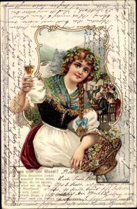 Präge Passepartout Litho Gruß von der Mosel, Junge Frau mit Weinglas