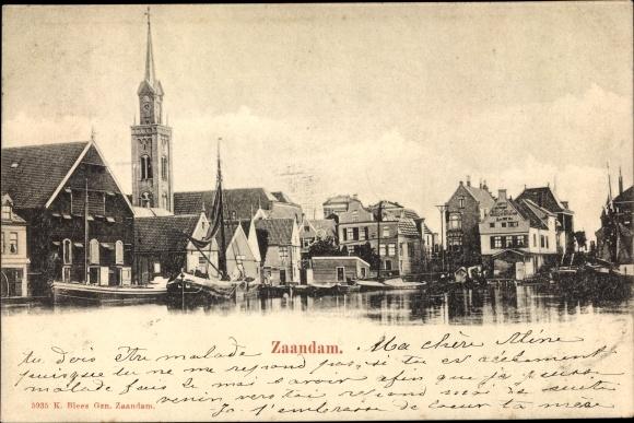 Ak Zaandam Zaanstad Nordholland, Panorama vom Ort