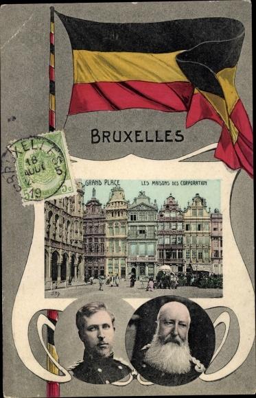 Passepartout Ak Brüssel, Grand Place, Les Maisons des Corporation, Albert und Leopold II von Belgien