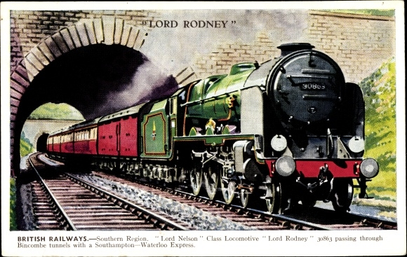 Ak British Railways, Lord Rodney Dampflokomotive, Lord Nelson class locomotive, Bincombe tunnels