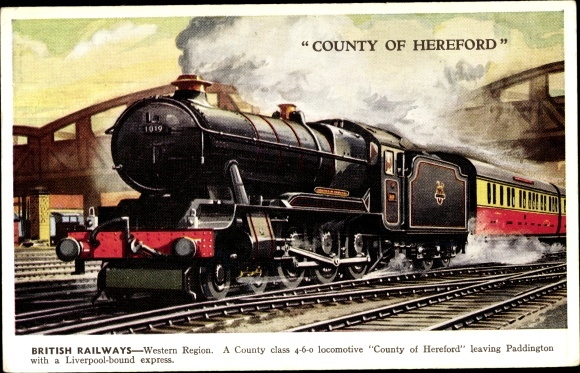 Ak British Railways, County of Hereford Lokomotive, County class locomotive leaving Paddington