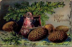 Präge Ak Fröhliche Weihnachten, Tannenzapfen, Tannenzweige