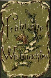 Präge Ak Fröhliche Weihnachten, Tannenzweig mit Tannenzapfen