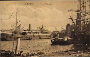 Ak Hansestadt Bremen, Im Freihafen, Dampfer