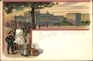 Künstler Ak Leipzig, Partie auf dem Platz, Neues Theater