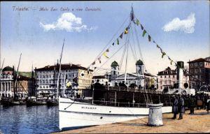 Ak Triest Friuli Venezia Giulia, Molo San Carlo e riva Carciotti, Dampfer Miramar
