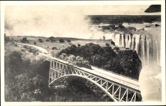 Ak Victoria Falls Simbabwe, Victoria Falls, Eisenbahn, Rhodesia Railways