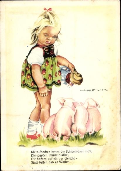 Künstler Ak Peyk, Hilla, Mädchen mit Schweinen