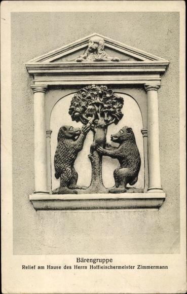 Ak Arnstadt in Thüringen, Bärengruppe, Relief am Hause des Herrn Hoffleischermeister Zimmermann