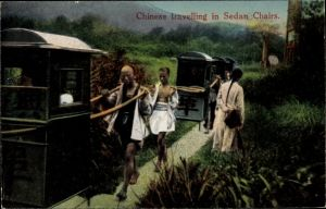 Ak China, Chinese travelling in Sedan Chairs, Sänftenträger