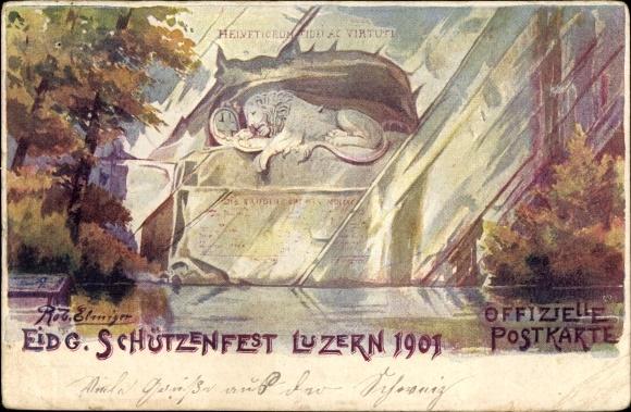 Künstler Ak Luzern Stadt Schweiz, Eidg. Schützenfest 1901 0