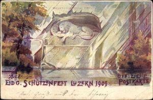 Künstler Ak Luzern Stadt Schweiz, Eidg. Schützenfest 1901