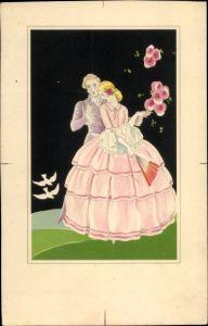 Künstler Ak Frau in rosa Kleid, Fächer, Mann im Frack