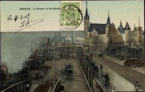 Ak Antwerpen Anvers Flandern, Le Steen et les Quais, vue d'oiseau, côte